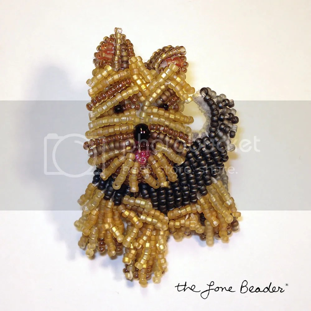 beaded Yorkie Yorkshire Terrier pin pendant bead embroidery Etsy Christmas