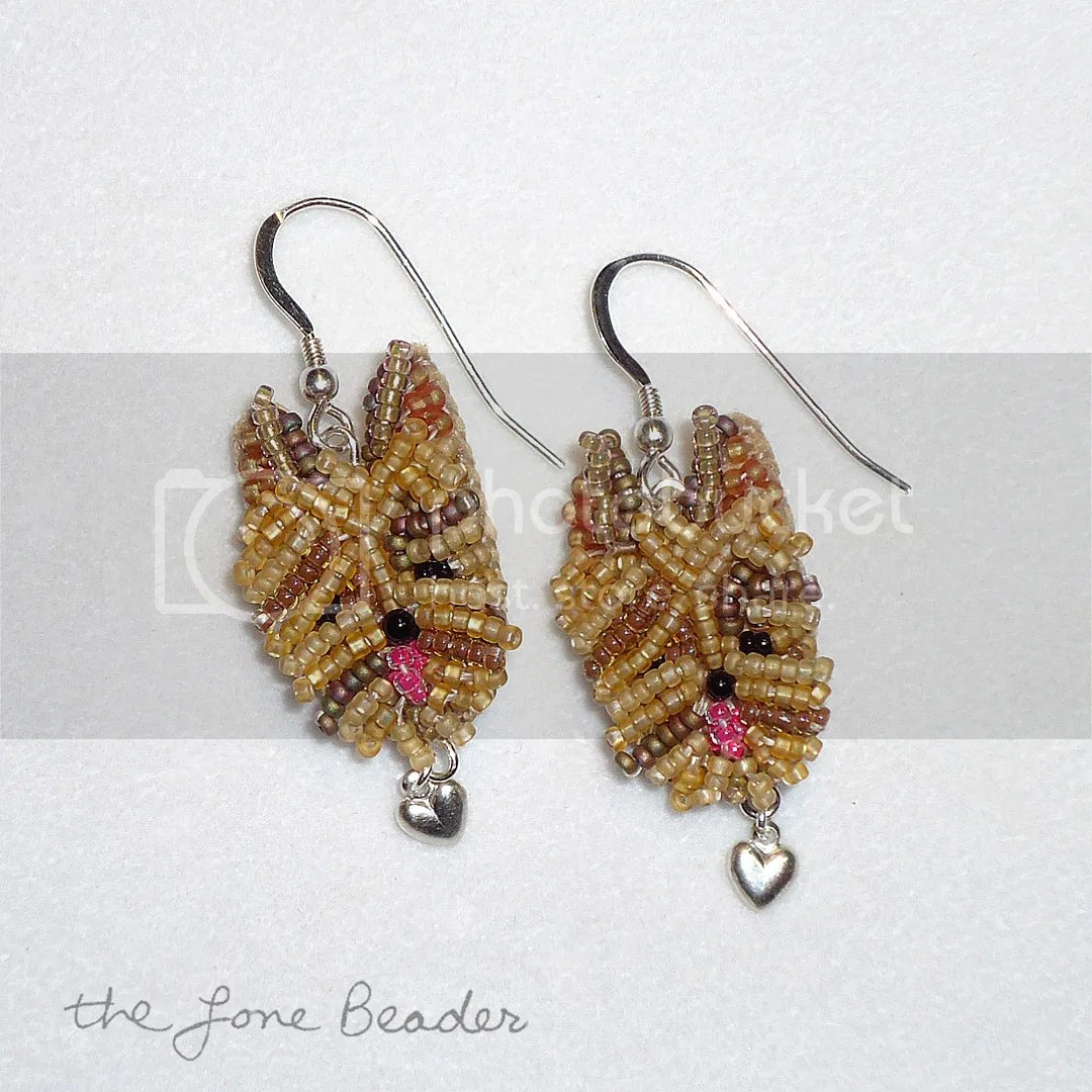 beaded Yorkshire Terrier Yorkie Love earrings dangly sterling silver etsy beadwork