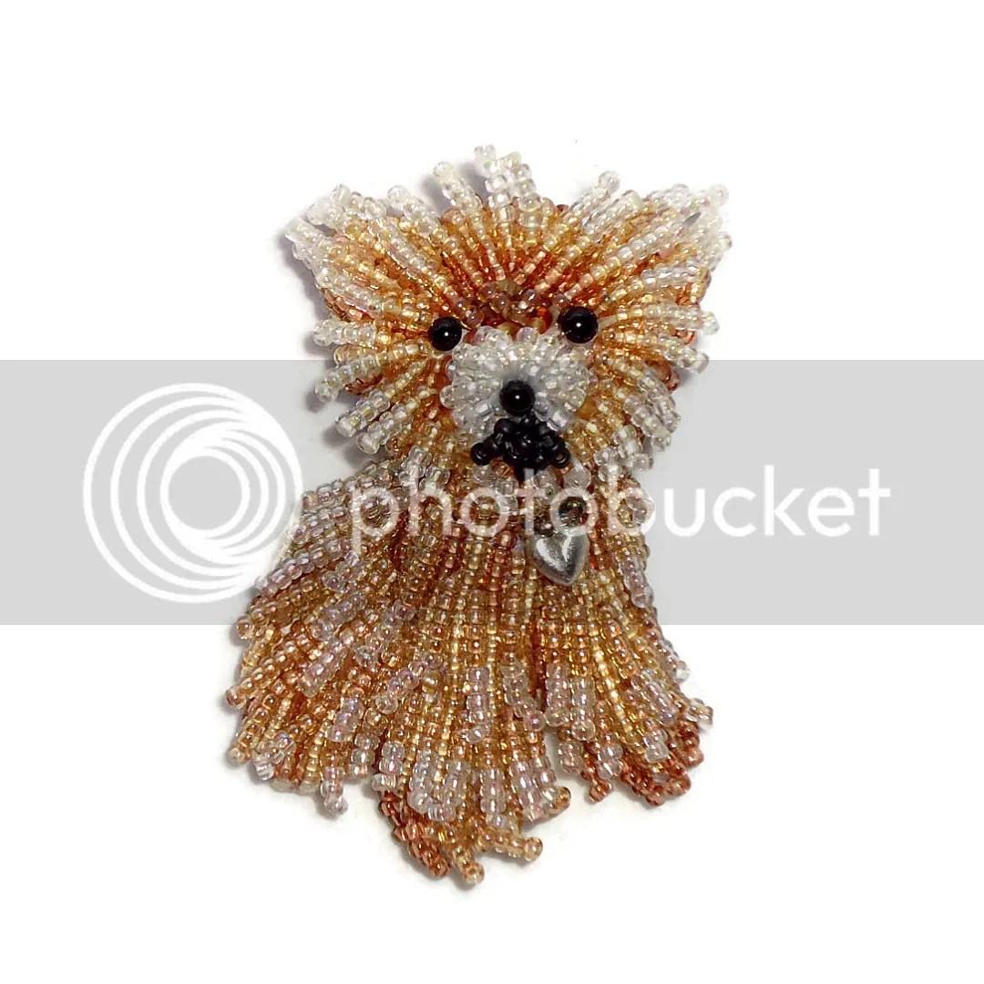 Custom Beaded Miniature Teacup Pomeranian pin pendant bead embroidery pet portrait beadwork beads art the lone beader