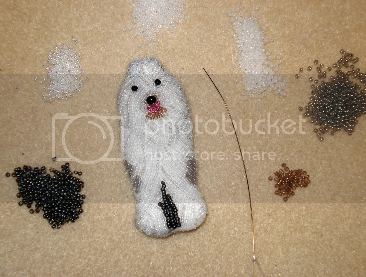 beaded OES Old English Sheepdog Baily Divas sheepie etsy bead embroidery pin pendant the lone beader beadwork