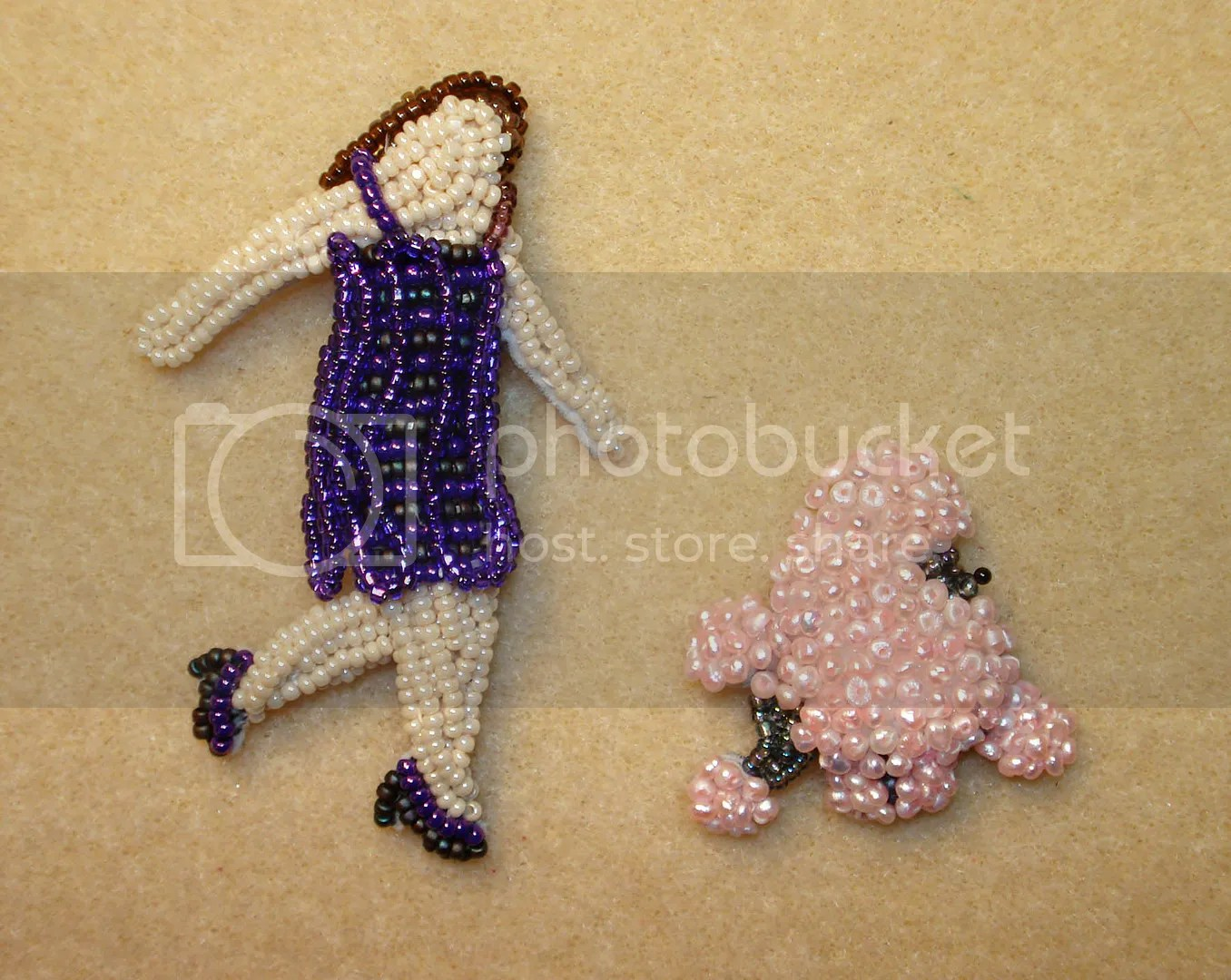 Beaded lady walking dog pin pink pearl poodle bead embroidery beadwork etsy