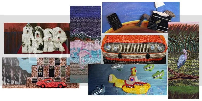 Lone Beader Moo Cards Business Beading Bead embroidery pop art gallery painting canvas cars submarine birds