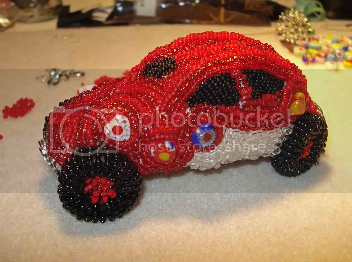 beaded love luv VW Bug Beetle red milliefiori bead embroidery beaded beadwork car etsy Valentine's Day