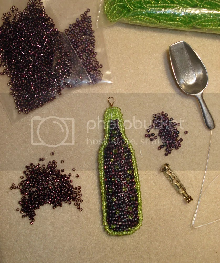 beaded beadwork Veneto Bordeaux wine bottle pin pendant seed bead embroidery etsy