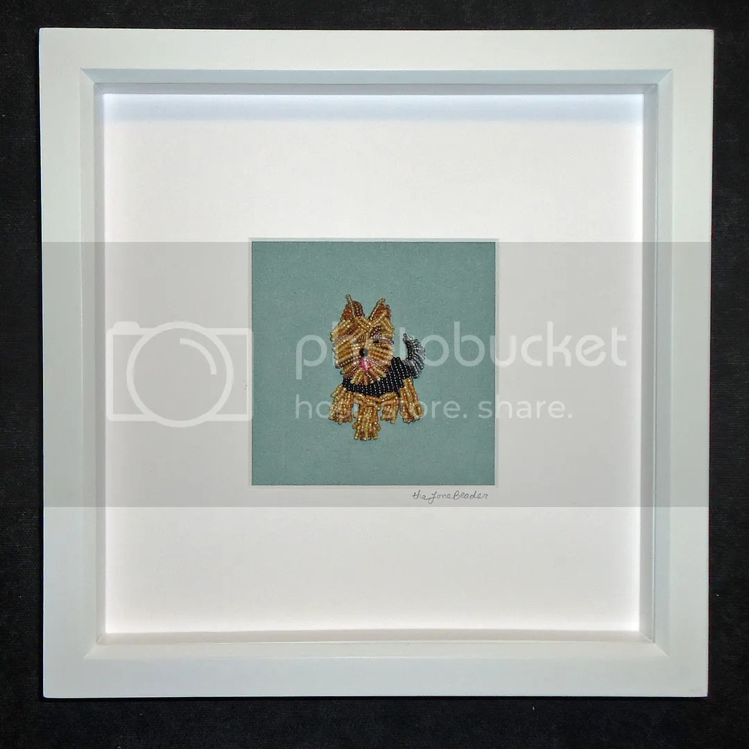 custom framed beaded embroidery pet portrait Yorkie dog etsy beadwork art white shadowbox