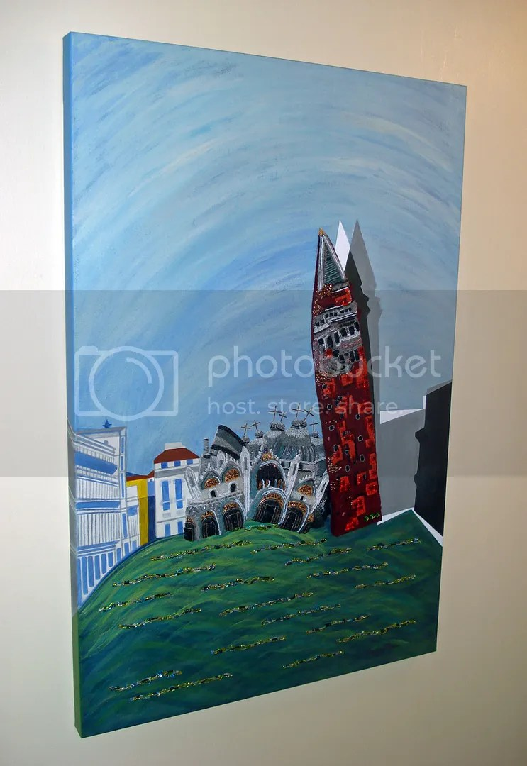 beaded St. Marks Square painting Sq. bead embroidery mixed media Venice Italy Basilica Campanile thelonebeader seed beads