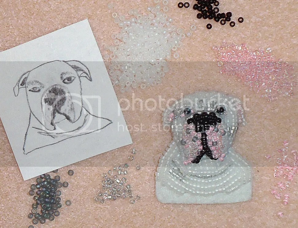 bead embroidery white American Bulldog art beaded painting etsy seed beads