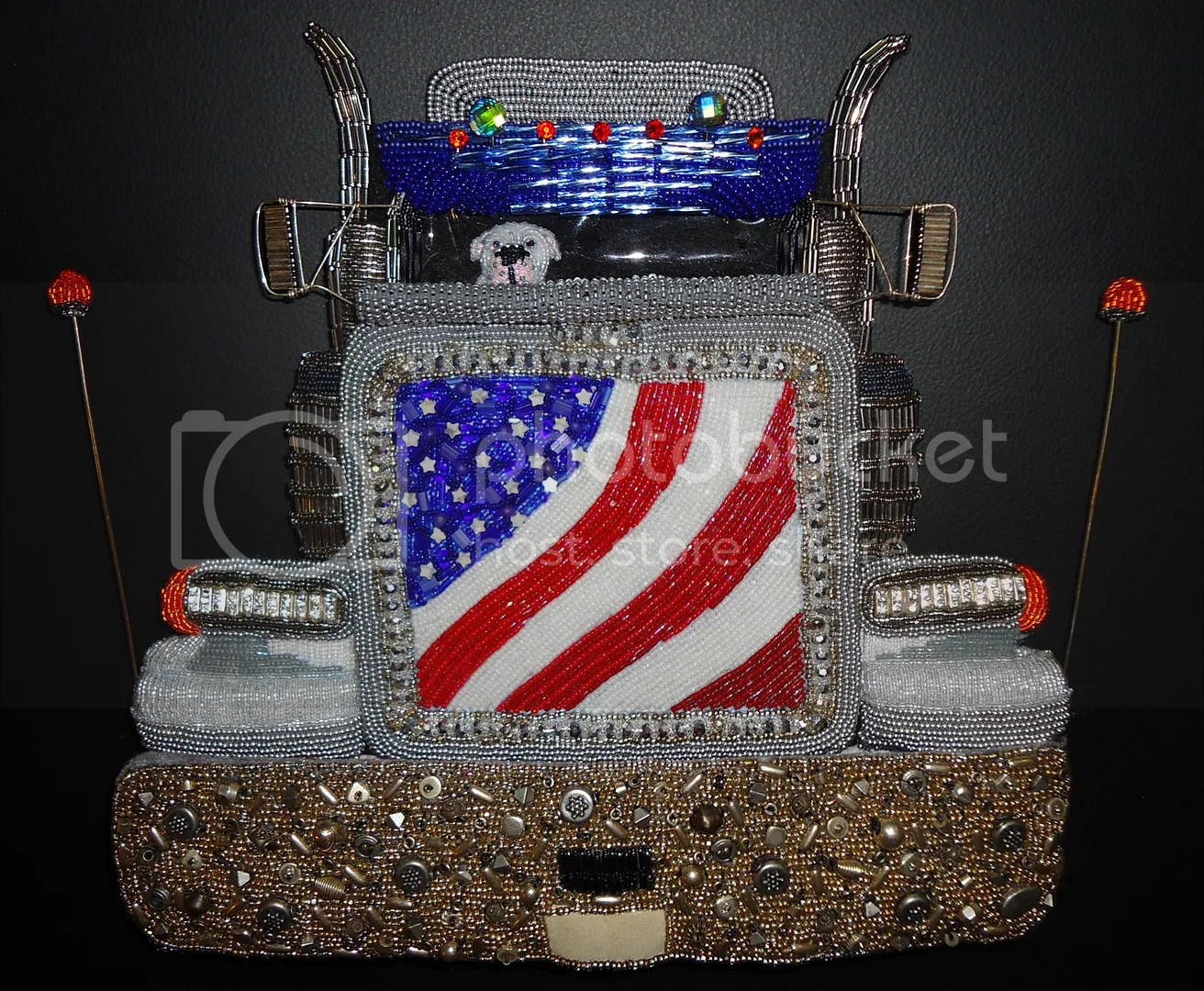 beaded semi truck peterbilt bead embroidery art painting american bulldog etsy artist
