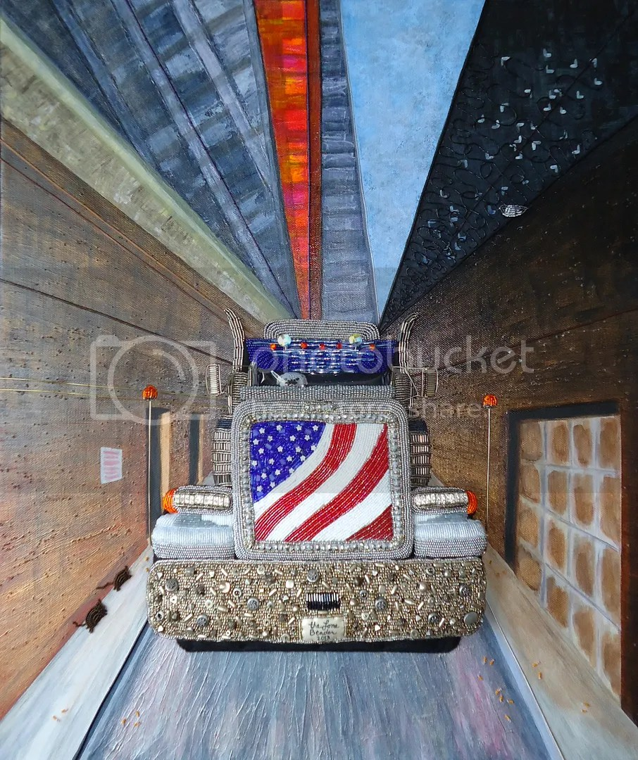 Beaded Peterbilt truck American bulldog painting Colonial Emerson Cutler Majestic Theatre Boston city scene art