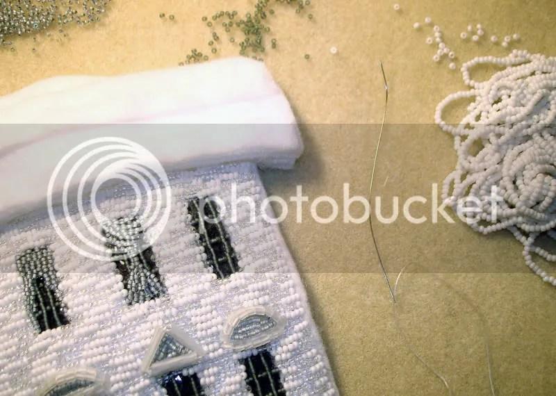 beaded White House beading needle Barack Obama pop art beadwork bead embroidery blog