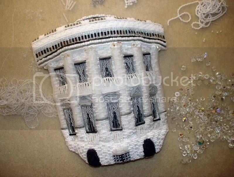 beaded White House President Barack Obama change bead embroidery pop art beadwork beading blog crystal