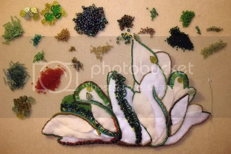 beaded White House east wing green trees Barack Obama pop art beadwork bead embroidery blog
