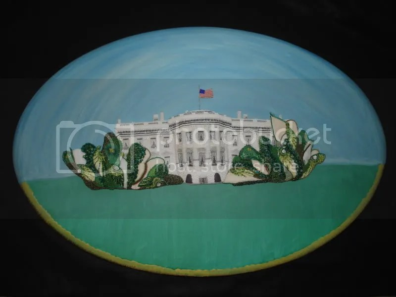 beaded White House trees Barack Obama pop art relief painting beading blog bead artist beadwork
