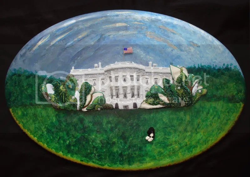 beaded White House Portuguese water dog impressionism South Lawn green trees Barack Obama pop art relief acrylics painting blog collage