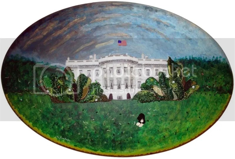 beaded bead embroidery pop art White House President Obama Bo dog Cambridge Art Association North East Prize Show 2010 boston artist