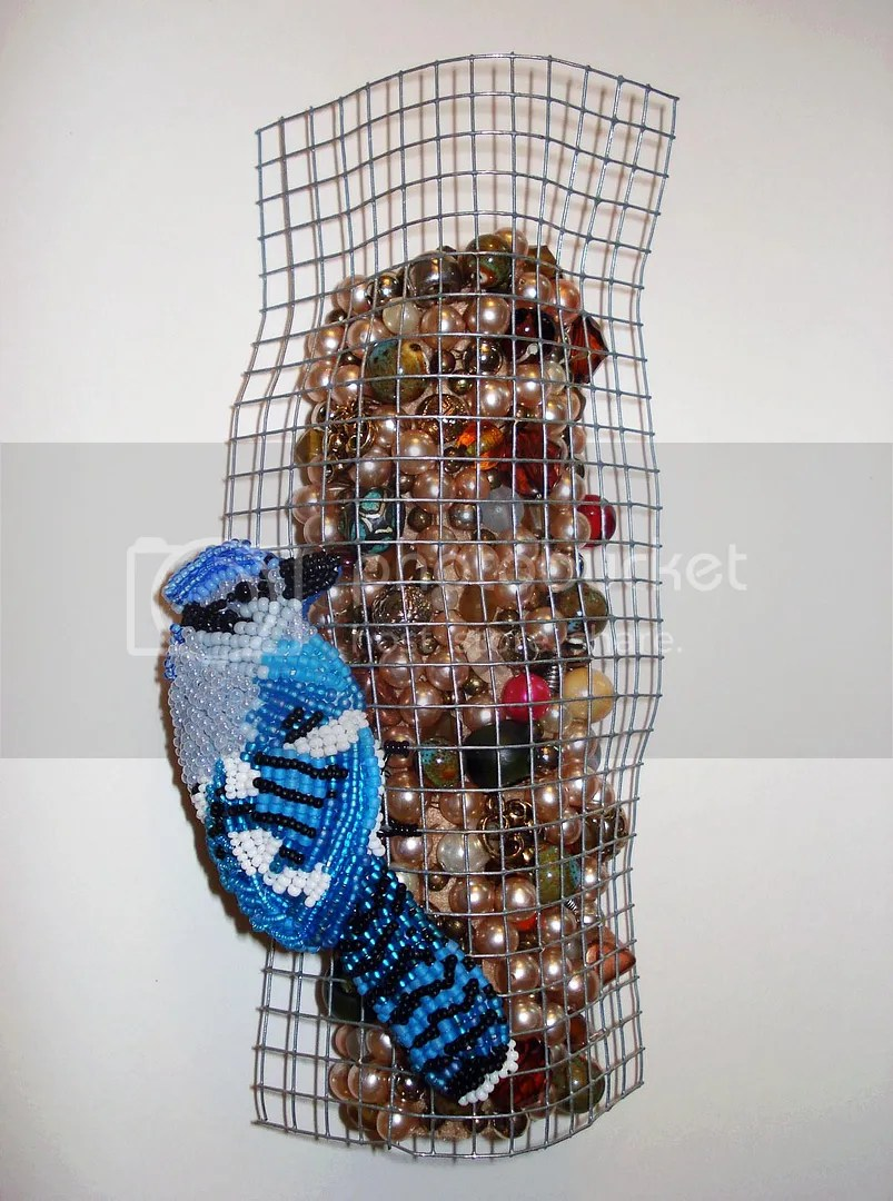 beaded Blue Jay bird feeder fiber art bead embroidery etsy nature wildlife relief thelonebeader