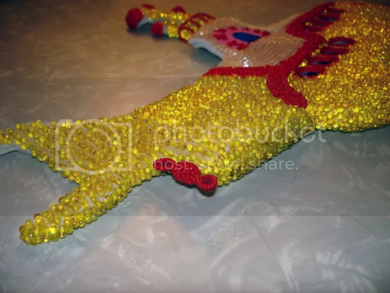 Beaded Beatles Yellow Submarine Pop art bead embroidery hijack propeller Boston beadwork beading Blue Meanies