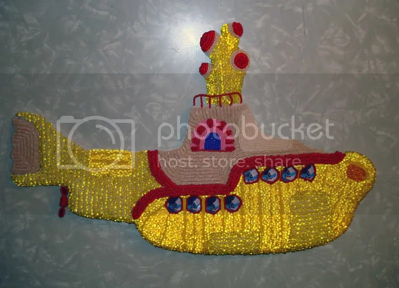 Beaded Beatles Yellow Submarine Pop art bead embroidery propeller Boston beadwork beading Blue Meanies