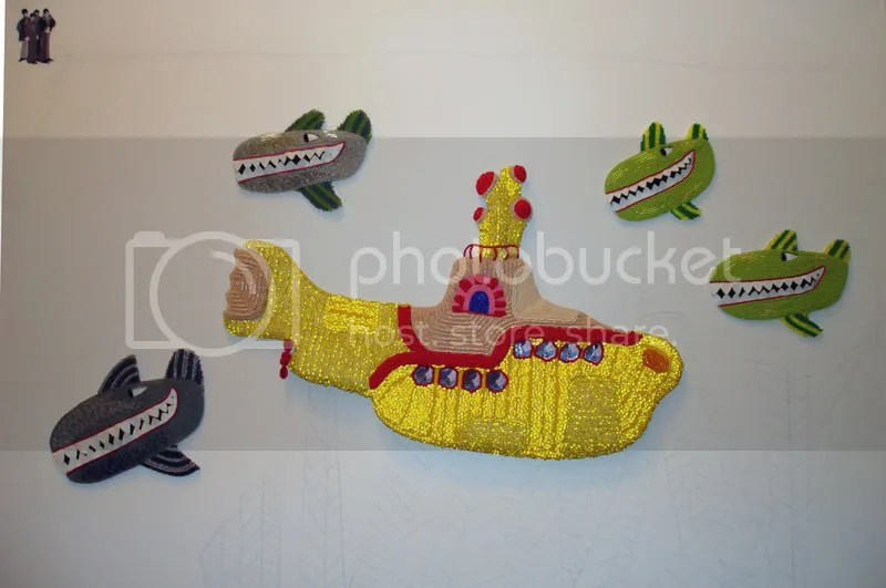 Beaded Beatles Yellow Submarine bead embroidery painting acrylics beading pop art Boston artist