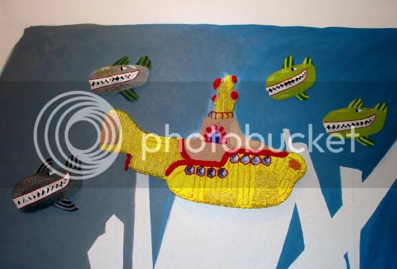 Beaded Beatles Yellow Submarine bead embroidery painting acrylics beading pop art Boston artist