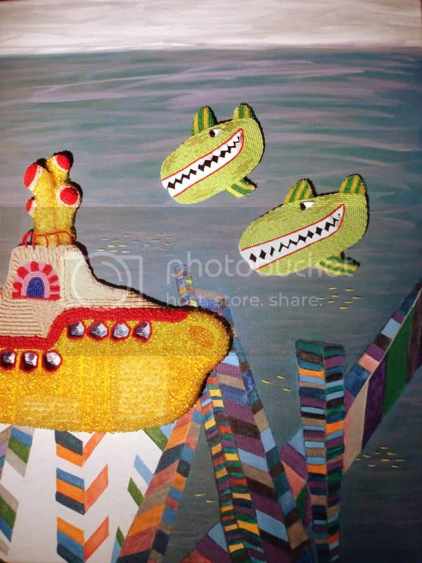 Beaded Beatles Yellow Submarine Pop art Boston Bead Mixed Media artist Blind fish whales Blue Meanies Beadwork