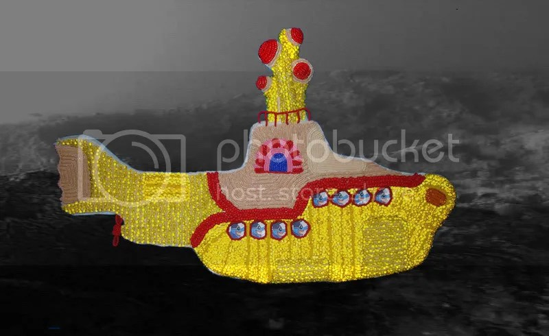 Beaded Beatles Yellow Submarine Pop Art Blue Meanies Helter Skelter Boston London bead embroidery under siege