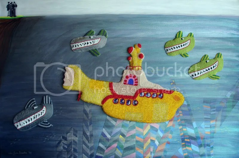 Beaded Beatles Yellow Submarine painting pop art London Pepperland Hijack sea of whales Blue Meanies beading