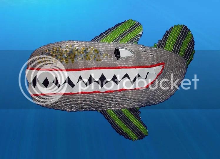 Beaded Beatles Yellow Submarine bead embroidery gray whale Boston bead pop art killer revolution jaws
