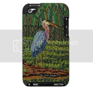 beaded iPhone cases iPod Touch Blackberry beadwork green great blue heron bird