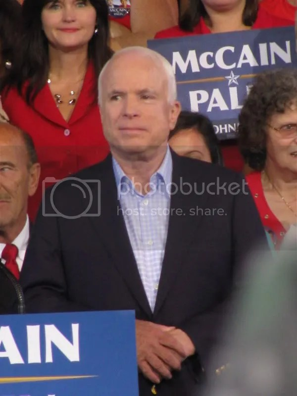 McCain Watching Palin Speak