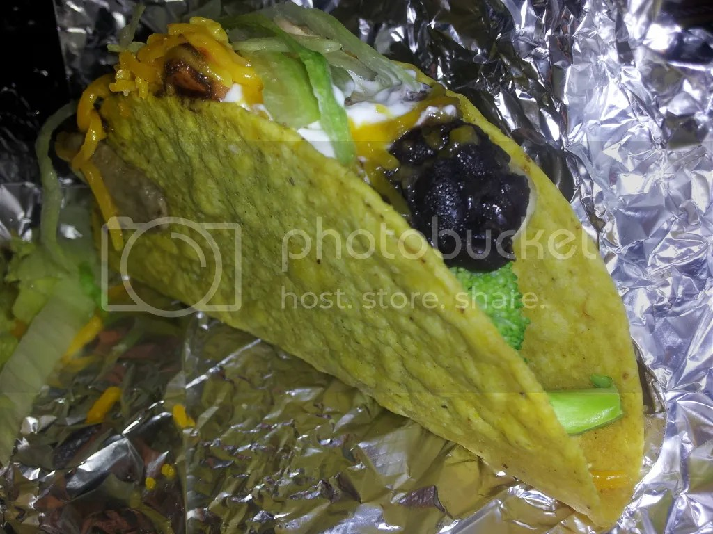 Steamed Veggie Taco (Taco King), Broccoli, Black Beans, Lettuce, Cheddar, Sour Cream, Shitake Mushrooms, Carrots