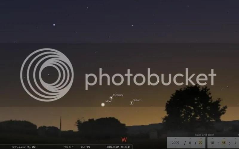 Waxing crescent moon, Mercury and Saturn at dusk