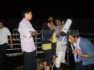 Astrosoc members observing the Partial Lunar Eclipse