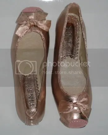 fb863c6a0 (Perfect metallic pink, with a little satin bow, and a little suede toe  strip just like an en pointe toe shoe :D) They're so comfy, and priced at a  few ...