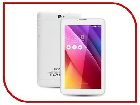 Планшет Ginzzu GT-X770 White rev.2 (SC9830 1.3 GHz/1024Mb/8Gb/GPS/LTE/Wi-Fi/Bluetooth/Cam/7.0/1024x600/Android)