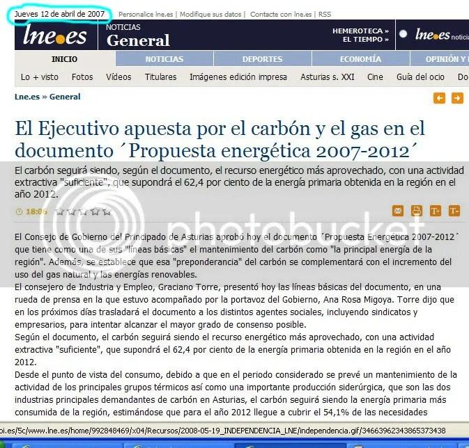 Única información de prensa publicada sobre el Plan del Gas de Asturias