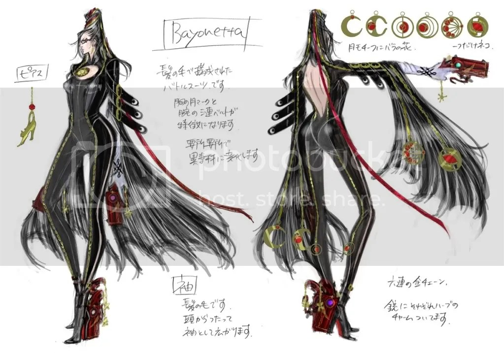 Some Bayonetta concept art. Those are guns, on all of her limbs.