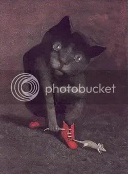 Apensar gato mujer con vestido rojo