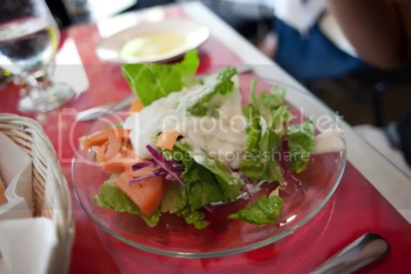 Fresh salad with cucumber-yogurt sauce for Cindy