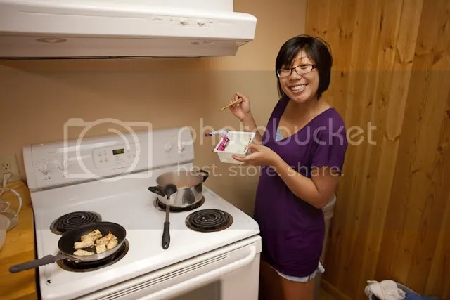 Cindy Frying Dumplings