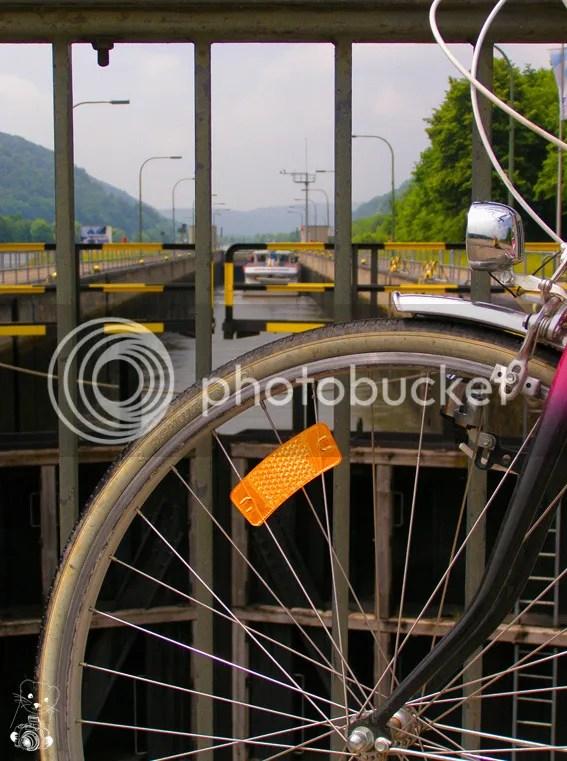 My bike at the barrage on Main-Danube channel in Kelheim, Bavaria, Germany