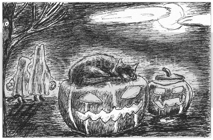 Happy Halloween! Wolfie sleeps on a carved pumpkin, while the Bunny and the Weasel go, dressed as ghosts, to trick-or-treat. Drawing by Robby das Wiesel.