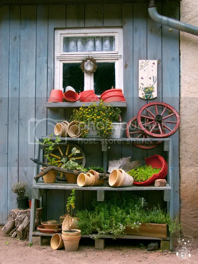 Garden shed and tools at Kloster Buch (monastery) in Germany
