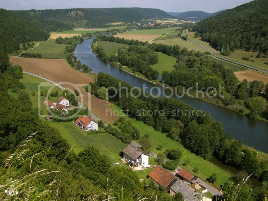 The river Altmühl seen from the hill at the Castle Eggersberg in East Bavaria, Germany