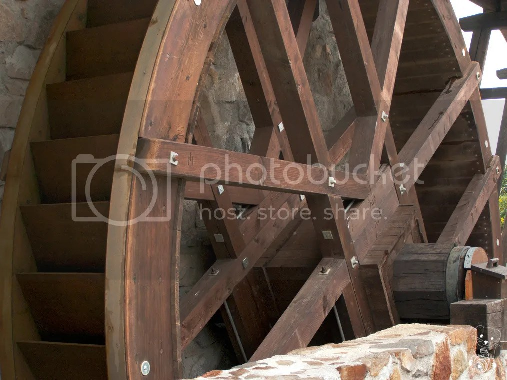 Mill wheel made of wood at the Krabat-Mühle in Saxony, Germany