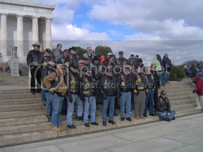 Nam Knights on the steps of Lincoln Memorial
