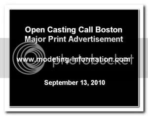 Major Print Ad Open Casting Call