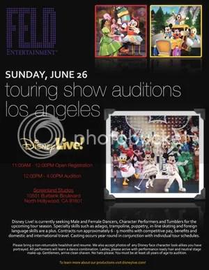 Disney Live Touring Show Casting Call
