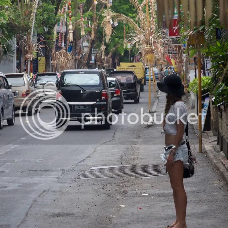 denim shorts,bali,street,hat