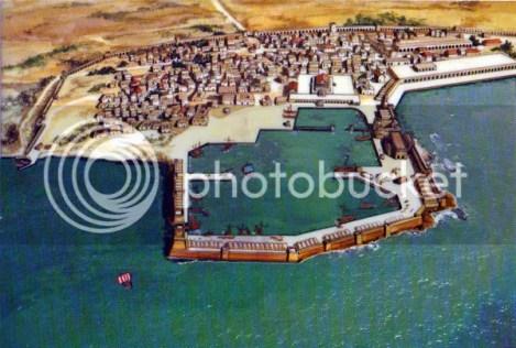 施工中的凱撒利亞港口復完圖乙